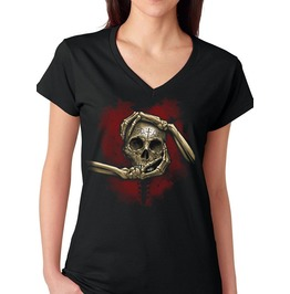 "Ladies V Neck ""Heart, Hand And Skull"" Tee"