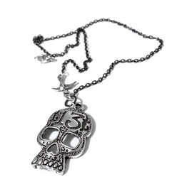 Lucky 13 Silver Sugar Skull Necklace
