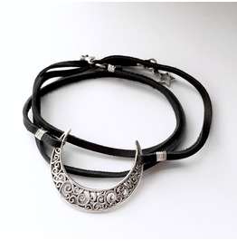 Black Leather Silver Moon And Stars Wrap Bracelet Necklace