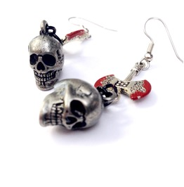 Dark Silver Skulls And Bloody Axe Earrings