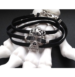 Lucky 13 Silver Sugar Skull And Black Leather Wrap Bracelet