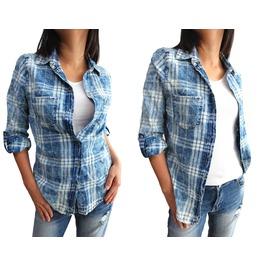 "New Lady Women Soft Bleached Shirt Top Long Sleeve Size M 37"", L 39"",Xl 42"""