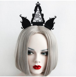 Handmade Black Lace Three Unicorn Horn Gothic Hair Accessories Fg 40