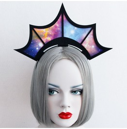 Handmade Colorful Starry Sky Crown Gothic Hair Accessories Fg 36