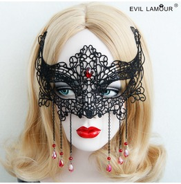 Handmade Black Lace Long Tassels Red Jewelry Pendent Gothic Mask