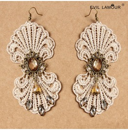 Handmade White Lace Jewelry Pendent Gothic Earring Eh 47