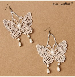 Handmade White Lace Butterfly Gothic Earring Eh 48