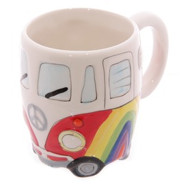Egg N Chips London Funky Novelty Rainbow Camper Van Design Ceramic Mug