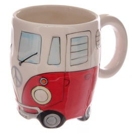 Egg N Chips London Funky Novelty Red Camper Van Design Ceramic Mug