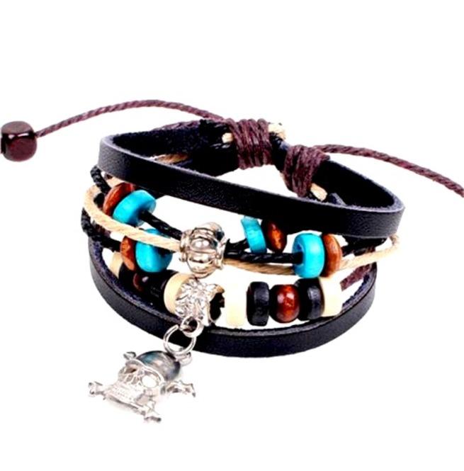 rebelsmarket_cool_leather_skull_head_crossbones_and_beads_wristband_bracelets_2.jpg