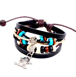 Cool Leather Skull Head Crossbones And Beads Wristband