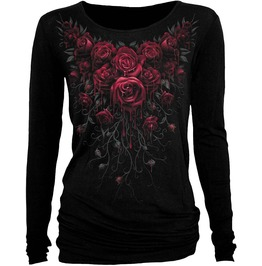 Women Long Sleeve Blood Rose Baggy Black Top