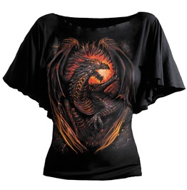 Women Boat Neck Bat Sleeve Dragon Wings Top Black