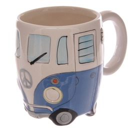 Egg N Chips London Funky Novelty Blue Camper Van Design Ceramic Mug
