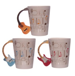 Egg N Chips London Novelty Guitar Shaped Handle Ceramic Mug