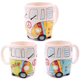 Egg N Chips London Funky Novelty Psychedelic Camper Van Design Ceramic Mu