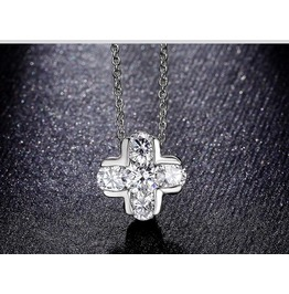 Cross Design Pendant White Gold Plated Necklace