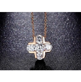 Cross Design Pendant Rose Gold Plated Necklace