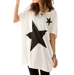 Casual Loose Two Stars Printed Short Sleeve Women T Shirt