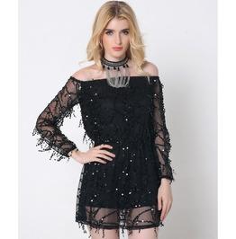 Sexy Off Shoulder Mesh Chiffon Tassel Short Dress