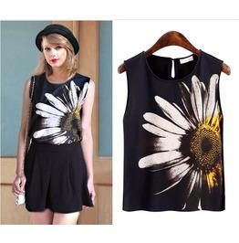 Women's Sleeveless Sunflower Printed Black Top