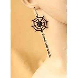 Handmade Black Wheel Spider Tassels Gothic Earring Er 46