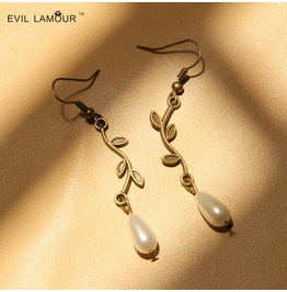 Handmade Mental Leaves Peal Pendent Gothic Earring Eh 67