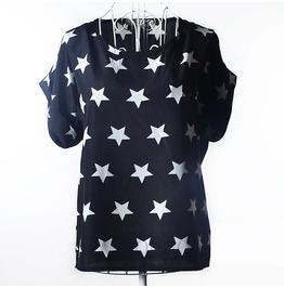 Women's Casual Summer Black/White Stars Printed Blouse