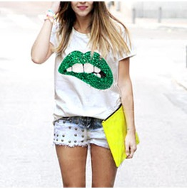 Women's Casual Summer Green/Red Lips Printed Blouse