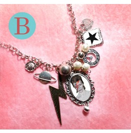 David Bowie Black Star Charm Necklace