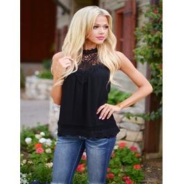Women's Sleeveless Black/White Lace Top Blouse
