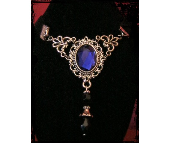 Necklace/Choker, Velvet Ribbon Wiith Blue Stone_Necklaces_2.JPG