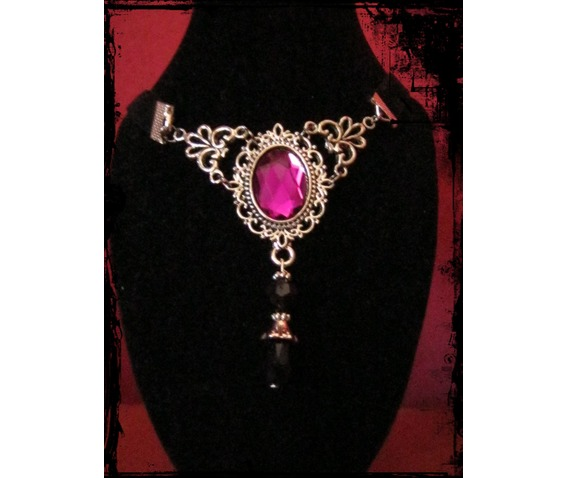 Choker, Velvet Ribbon Fuchsia Stone_Necklaces_2.JPG