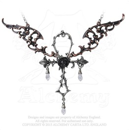 Wings Of Eternity Egyptian Symbol Of Life Winged Ankh Rose Gothic Necklace
