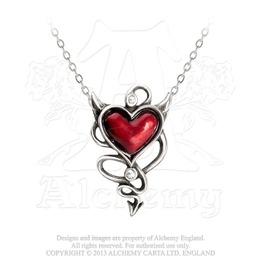 Naughty And Sinful Devil Heart Gemstone Gothic Necklace