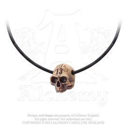 Lucky 13 Hole In The Head Resin Skull Gothic Necklace