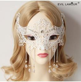 Handmade Black Lace Long Tassels Pendent Gothic Mask Mk 30