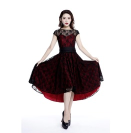 Black Lace Goth Steampunk Victorian Dress Red Or Black 72804 Ct