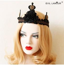 Handmade Black Lace Rose Crown Gothic Hair Accessories Mk 32