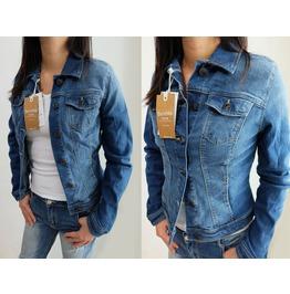 "New Lady Women Bershka Jeans Denim Jacket Long Sleeve Bust Sz S 33"", M 35"""