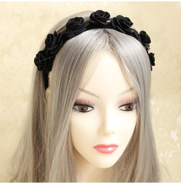 Handmade Black Lace Rose Gothic Hair Accessories Fd 03