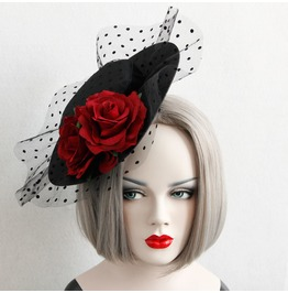 Handmade Black Lace Red Rose Gothic Hair Accessories Fj 37