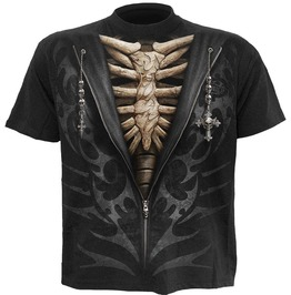 Brand New Men Black Skeleton Cross Skulls T Shirt