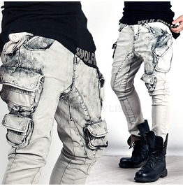 Dark Clouds Washed Multiple Cargo Pockets Slim Jeans