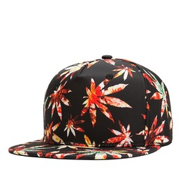 Hip Hop 3 D Digital Hemp Fimble Leaves Printed Contrast Baseball Cap