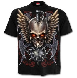 Men,S Black Tattoo Biker Cotton T Shirt