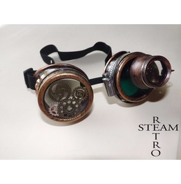 Steampunk Goggles Burning Man Steampunk With Eye Loupe Green