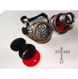 Steampunk Goggles Glasses Burning Man With Red Loupe