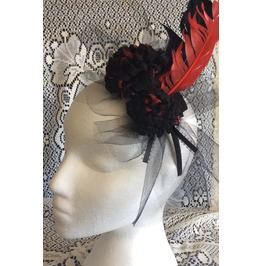Goth Black And Red Feathers And Flowers Hair Fascinator Headband