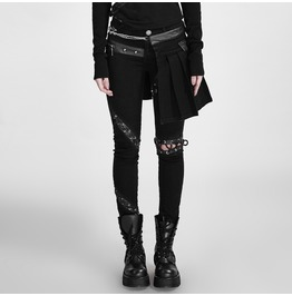 Women's Punk Asymmetric Low Waist Pants With Removable Skirt K 255